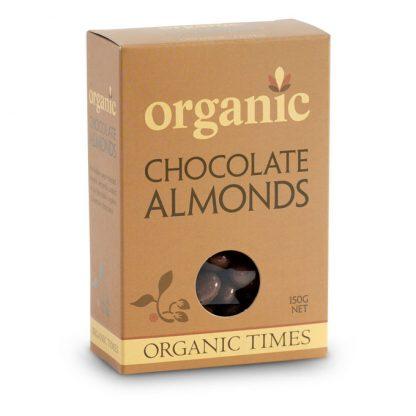 A 150 gram box of Organic Times Milk Chocolate Almonds