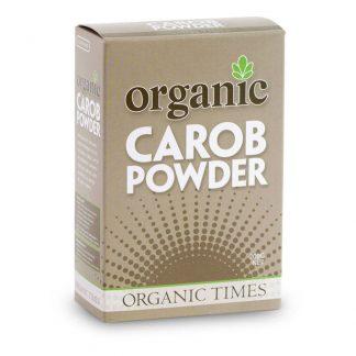 A 200 gram box of Organic Times Carob Powder