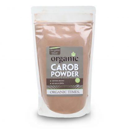 A 500 gram bag of Organic Times Carob Powder