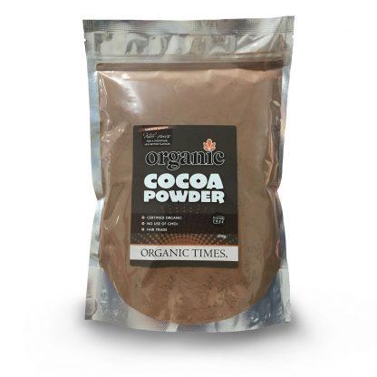 A 500 gram bag of Organic Times Dutch-Processed Cocoa Powder
