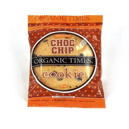 A 60 gram Organic Times Choc Chip Cookie