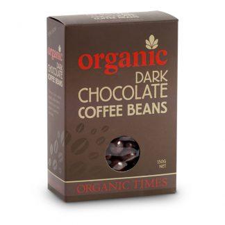 A 150 gram box of Organic Times Dark Chocolate Coffee Beans