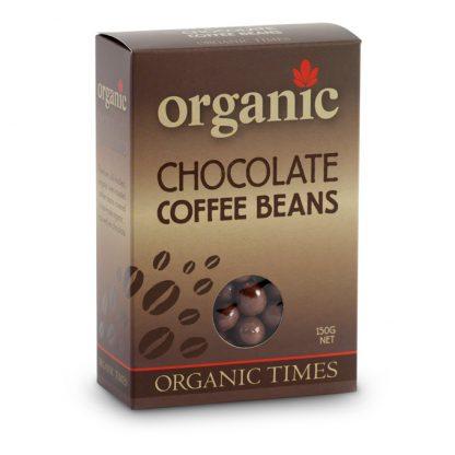 A 150 gram box of Organic Times Milk Chocolate Coffee Beans