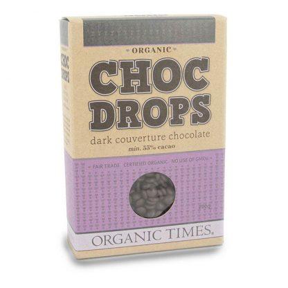 A 200 gram box of Organic Times Dark Chocolate Drops