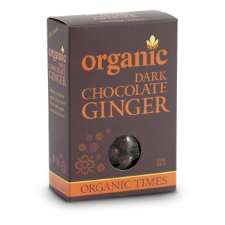 A 150 gram box of Organic Times Dark Chocolate Ginger