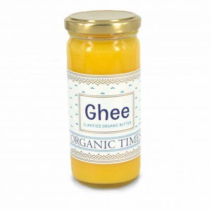 A 225 gram jar of Organic Times Ghee