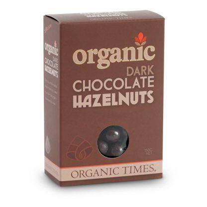 A 150 gram box of Organic Times Dark Chocolate Hazelnuts