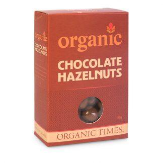 A 150 gram box of Organic Times Milk Chocolate Hazelnuts
