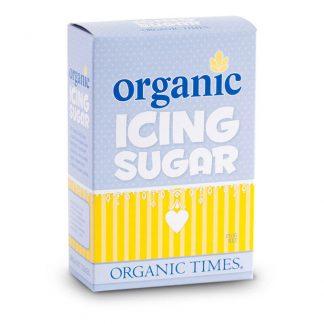 A 250 gram box of Organic Times Icing Sugar