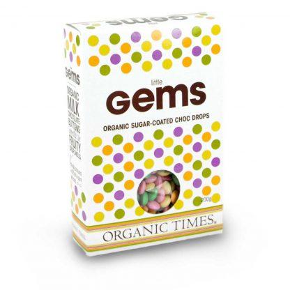 200 gram box of Organic Times Little Gems chocolates