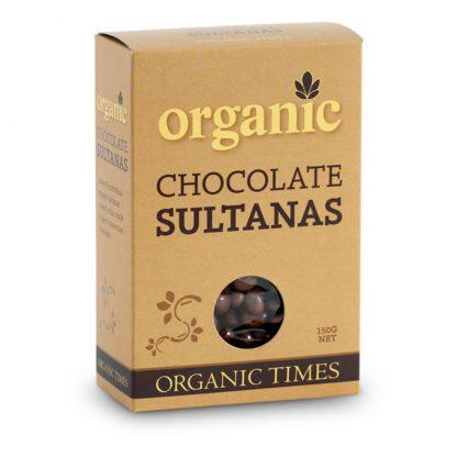 A 150 gram box of Organic Times Milk Chocolate Sultanas