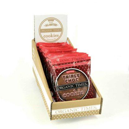 A box of 16 x 60 gram Organic Times Triple Choc Cookies