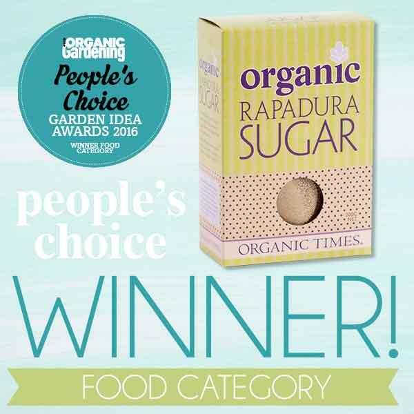 A box of Rapadura Sugar with Good Organic Magazine award