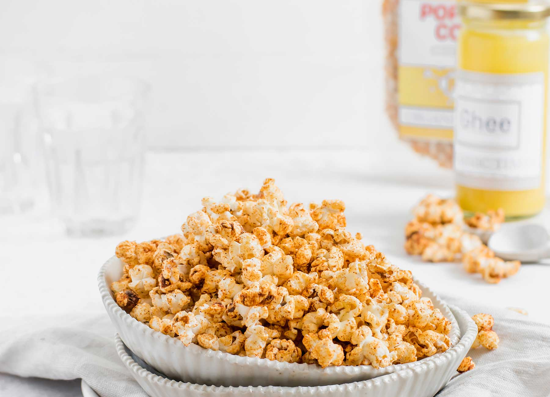 A bowl of barbeque flavoured popcorn with Organic Times Ghee and Popcorn
