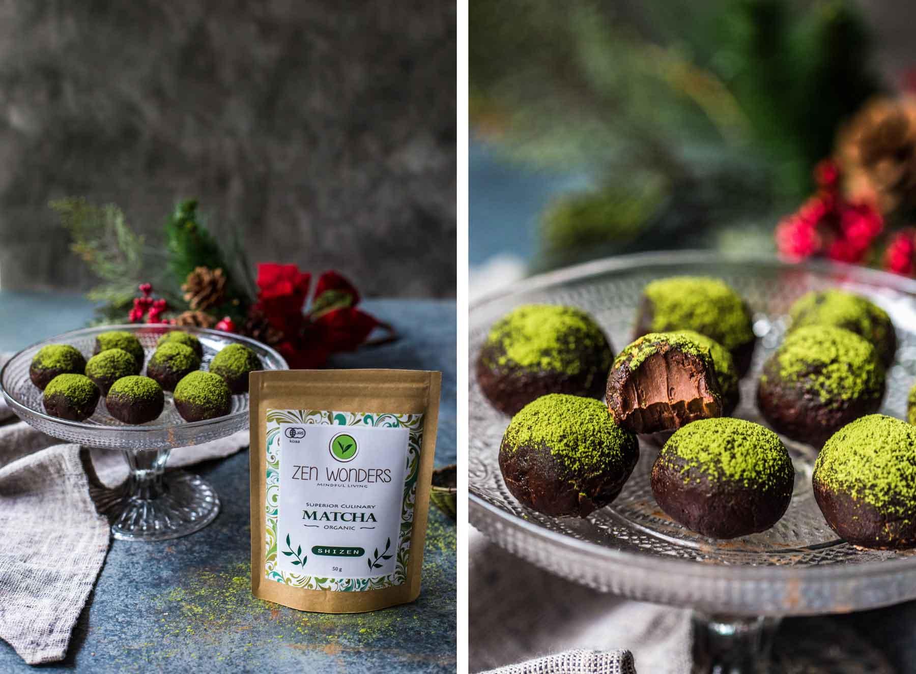 A packet of organic Zen Wonders Matcha next to Chocolate Matcha Truffles