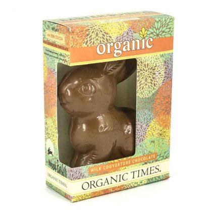 An Organic Times Milk Chocolate Easter Bunny