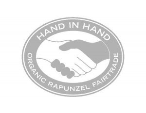 Two hands shaking in fair-trade logo