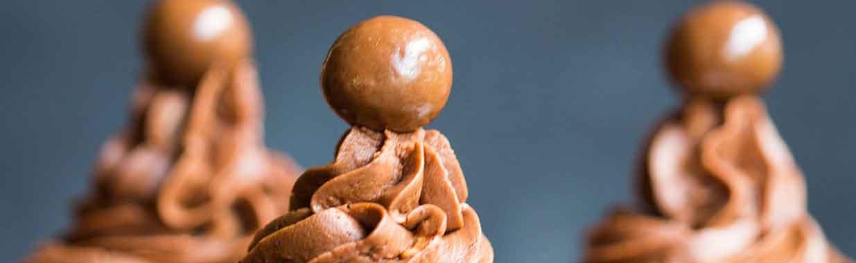 The tops of Chocolate Hazelnut Cupcakes