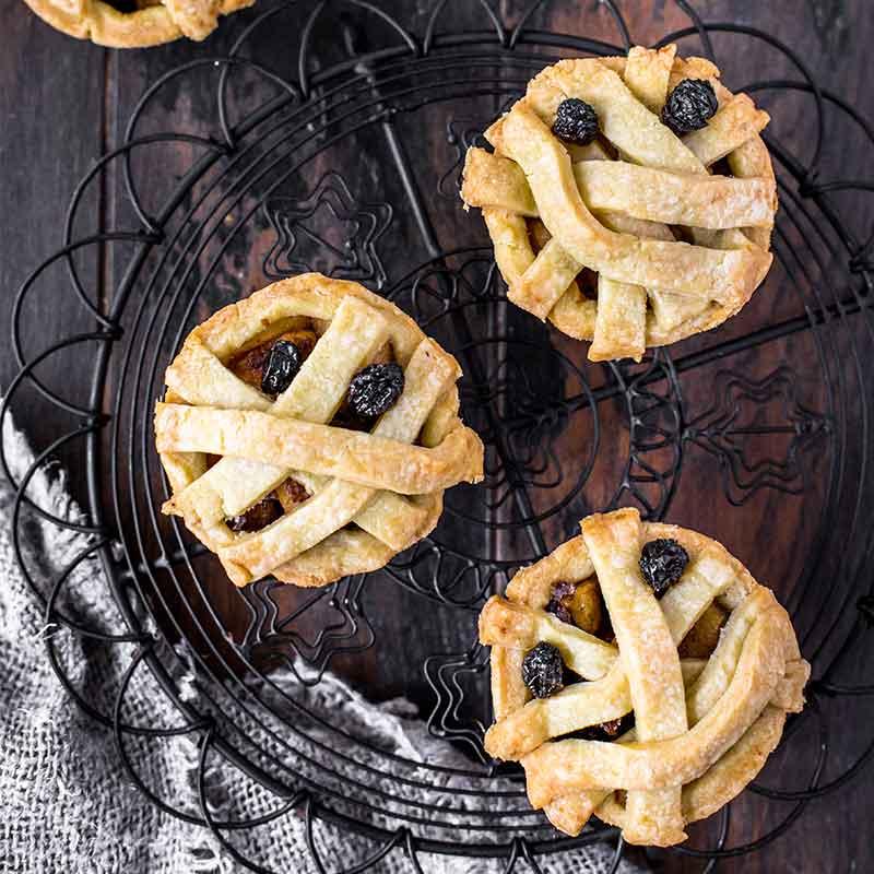 A tray of Halloween Apple Pie Mummies