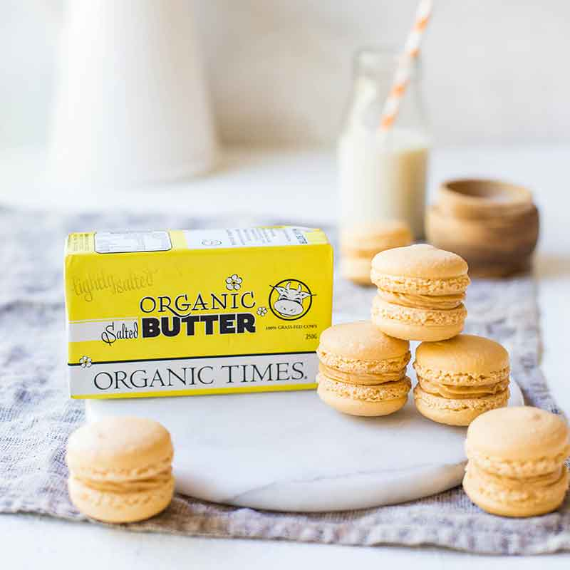Organic Times Salted Butter next to salted caramel macarons