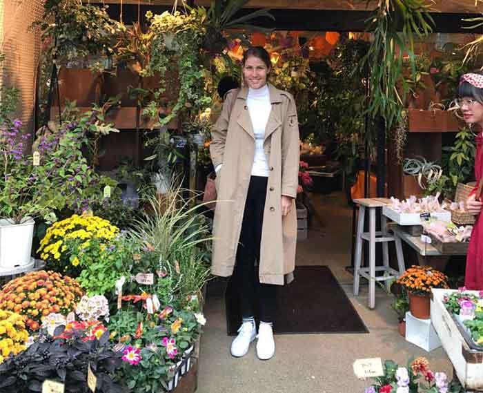 Annabelle Lambie in a florist in Japan