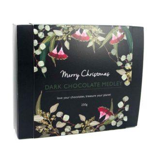 A box of organic times Christmas dark chocolate medley