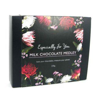 A box of organic times milk chocolate medley