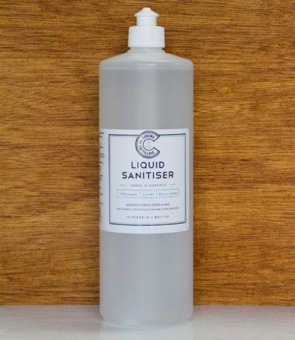 a 1 litre bottle of Australian liquid sanitiser