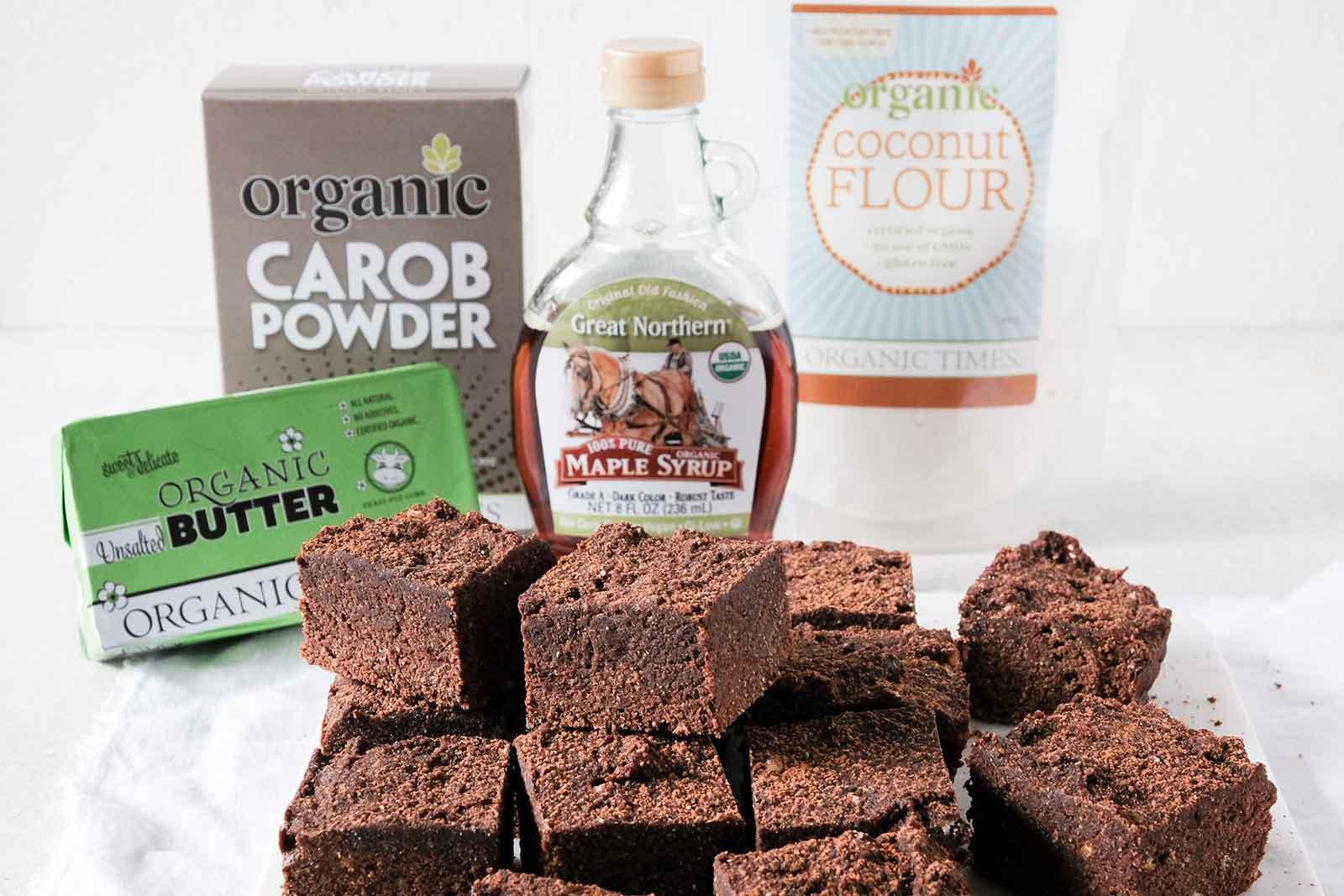 carob brownies next to Organic Times ingredients