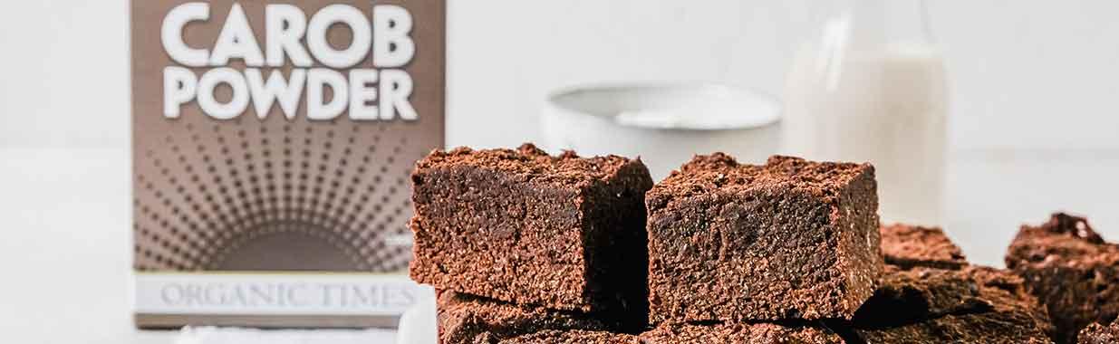 carob brownies next to organic times carob brownie