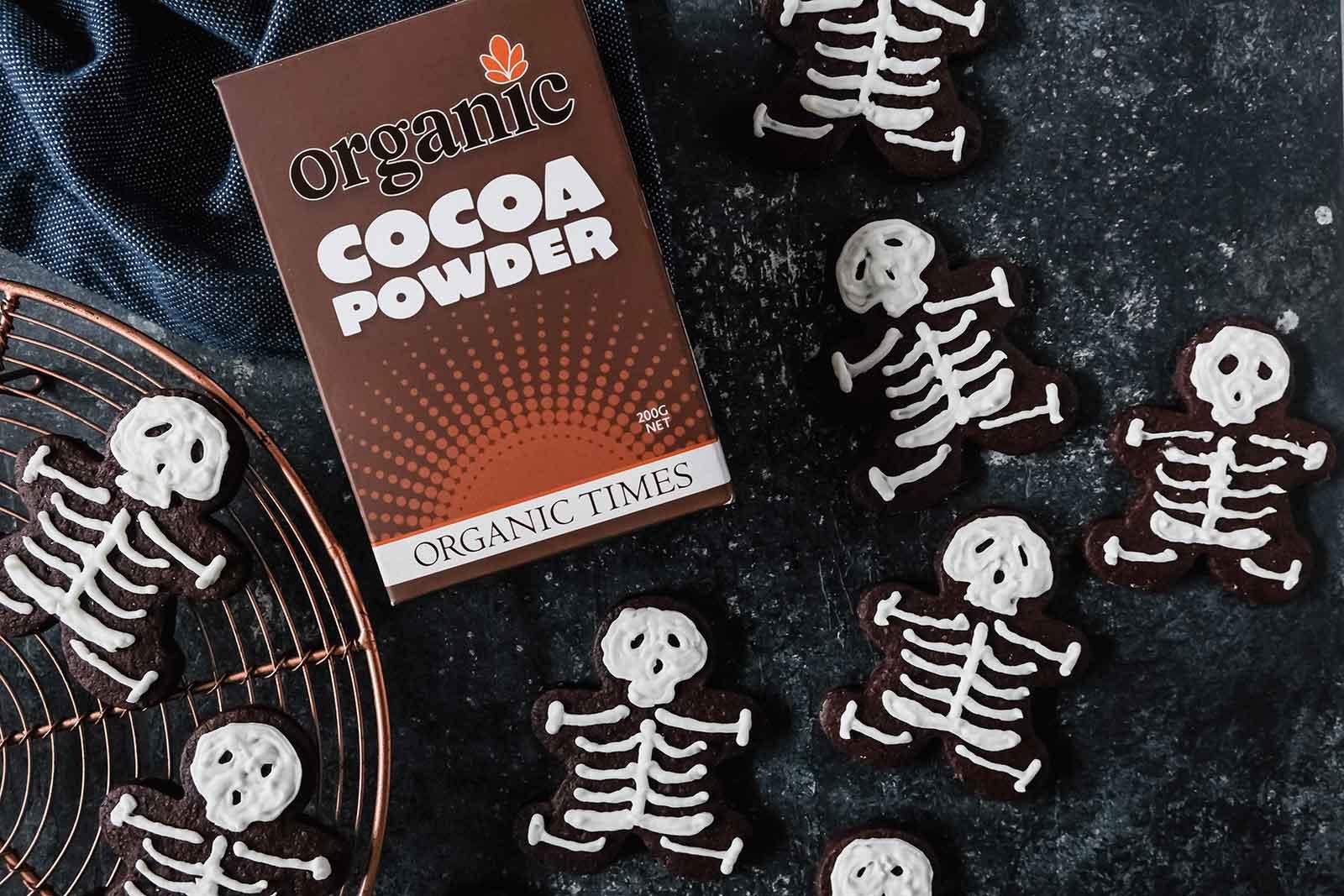 boney brownie halloween cookies next to organic times cocoa powder