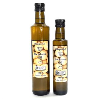 two bottles of Australian certified organic macadamia oil
