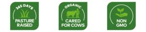365 days pasture raised, organic cared for cows, NON-GMO logo
