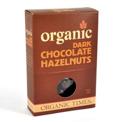 a box of organic times dark chocolate hazelnuts
