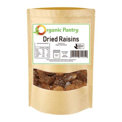 bag of organic dried raisins